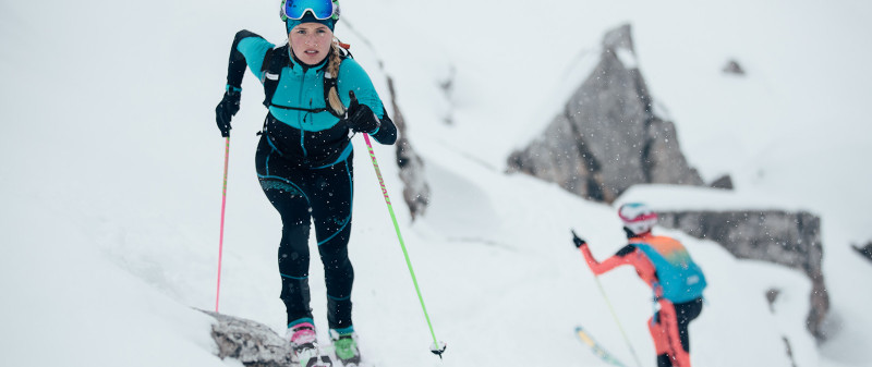 Dynafit Skimountaineering athlete Johanna Erhart preparing for the PDG