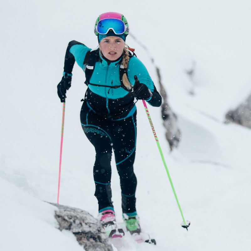 Johanna Erhart Dynafit Athelte preparing for Patrouille des Glaciers